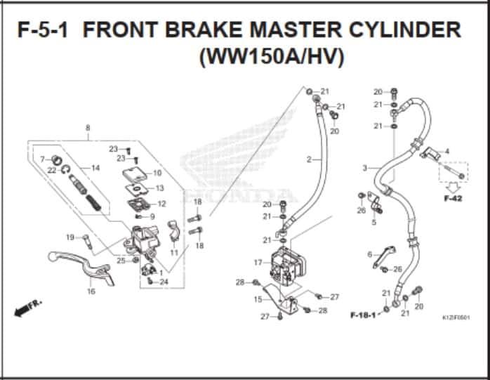 F-5-1 Front Brake Master Cylinder (WW150A/HV) – Katalog Suku Cadang Honda PCX 160