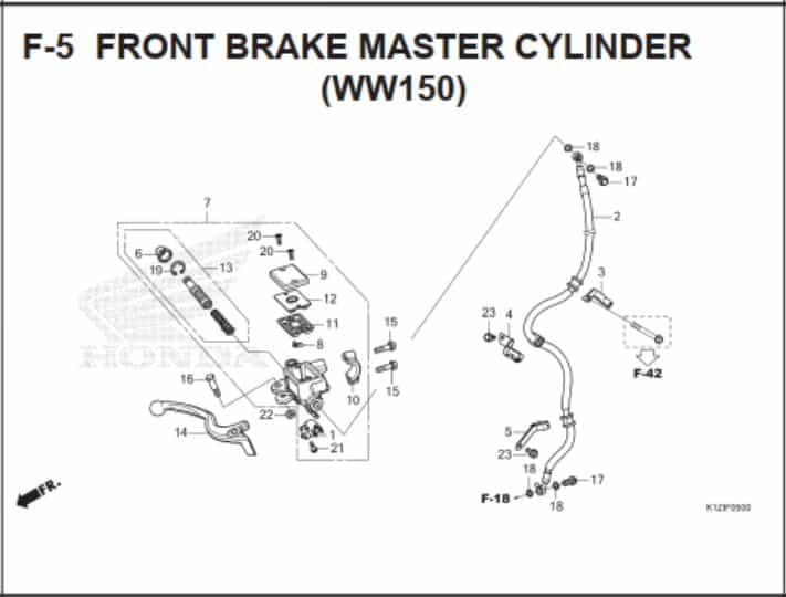 F-5 Front Brake Master Cylinder (WW150)