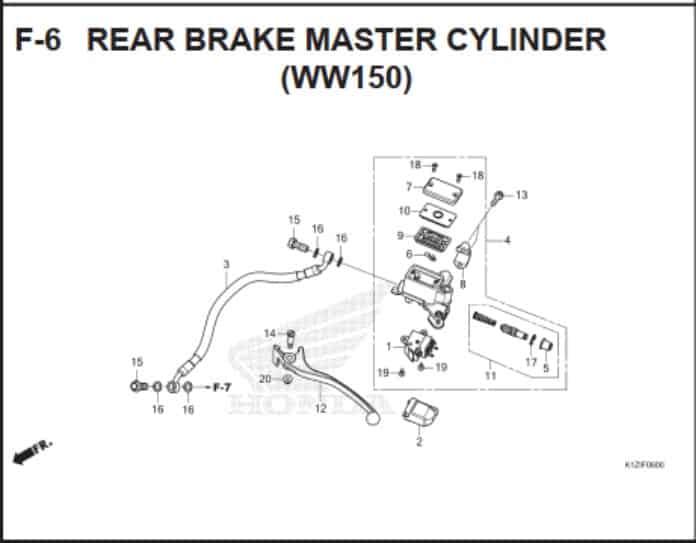 F-6 Rear Brake Master Cylinder (WW150)