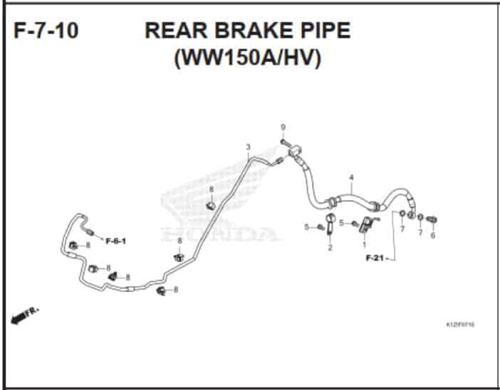F-7-10 Rear Brake Pipe (WW150AHV)