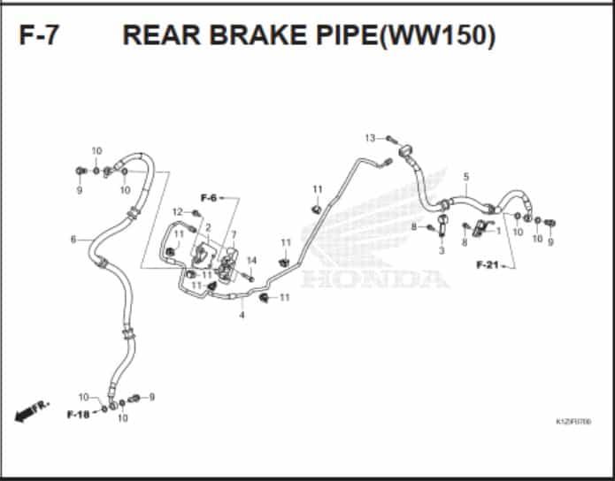 F-7 Rear Brake Pipe (WW150)