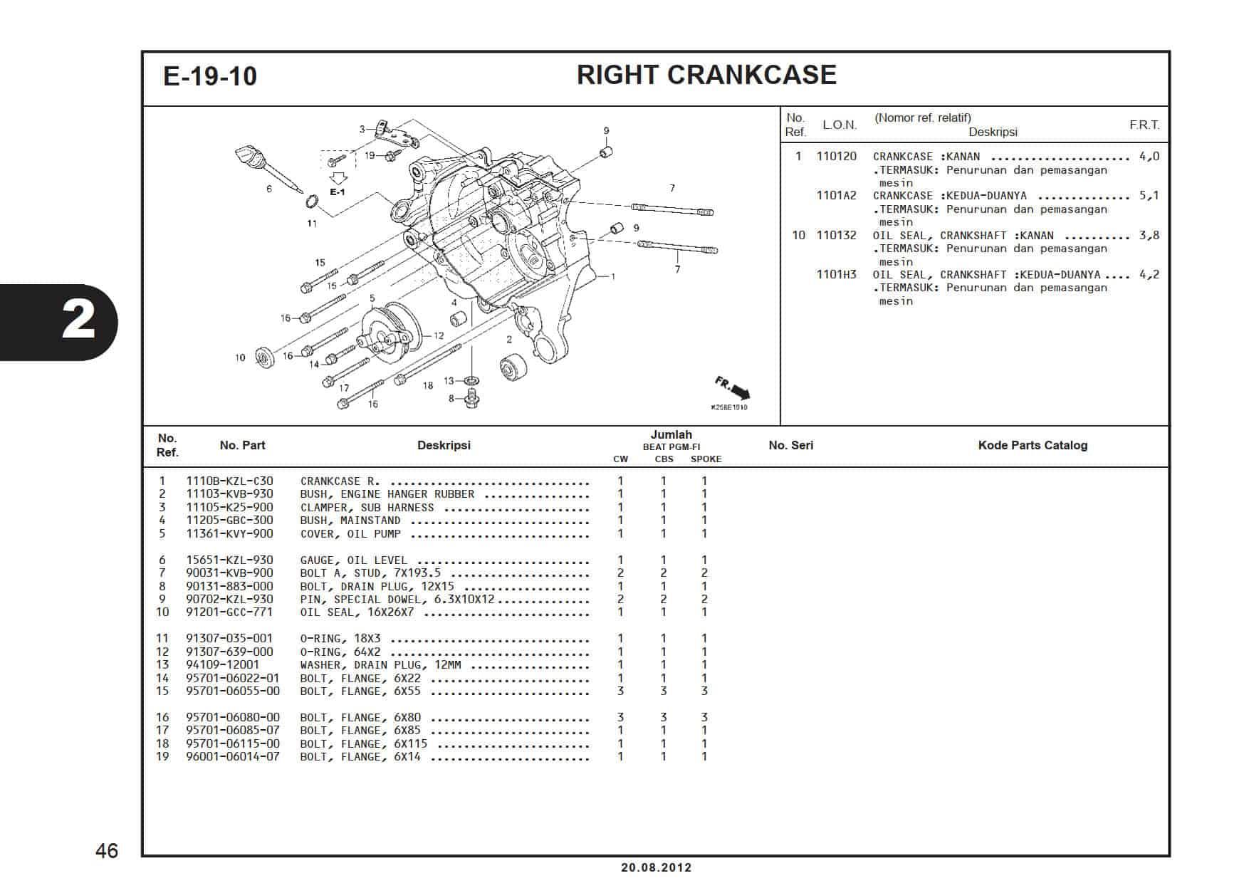 E-19-10 Right Crankcase Cover