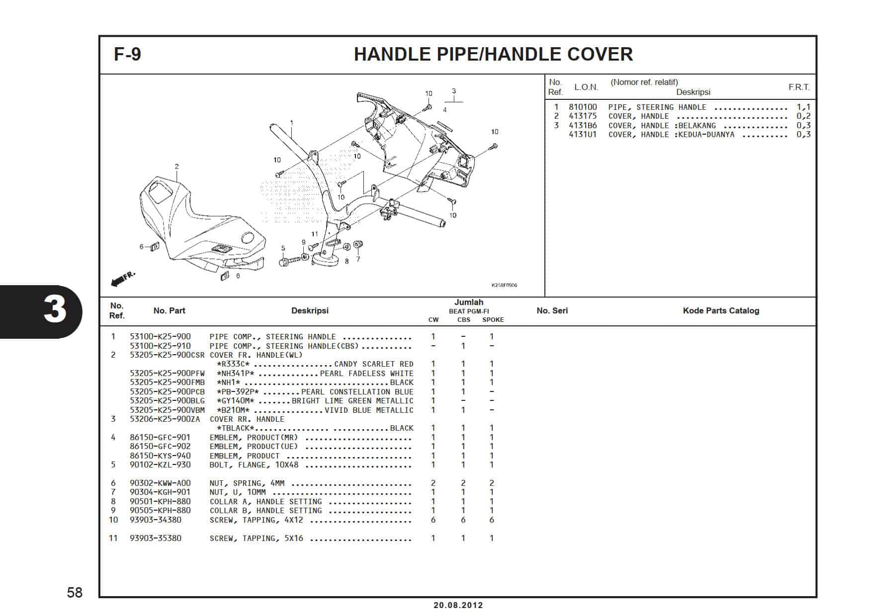 F-9 Handle Pipe/Handle Cover