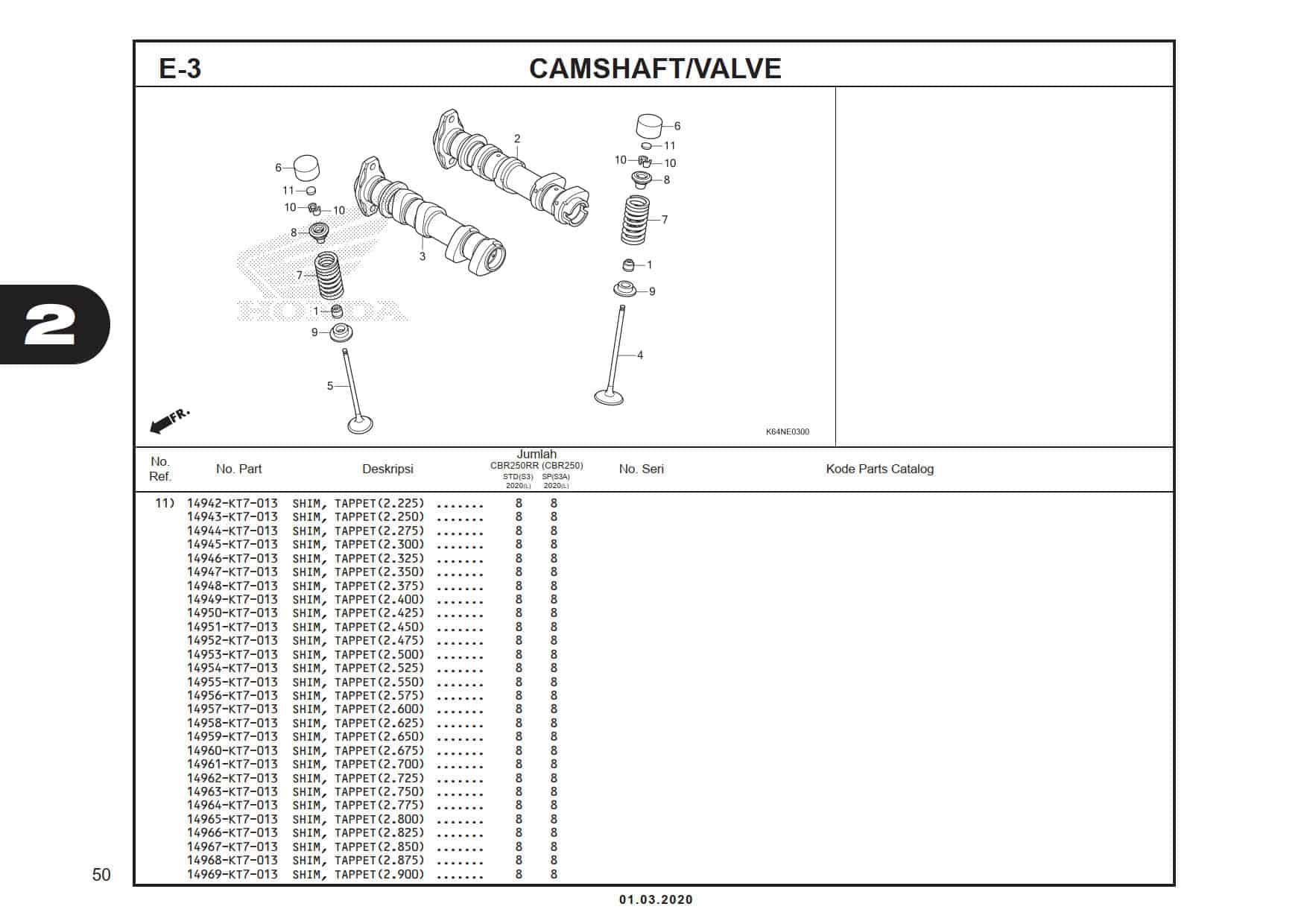 E-3 CamShaft/ Valve