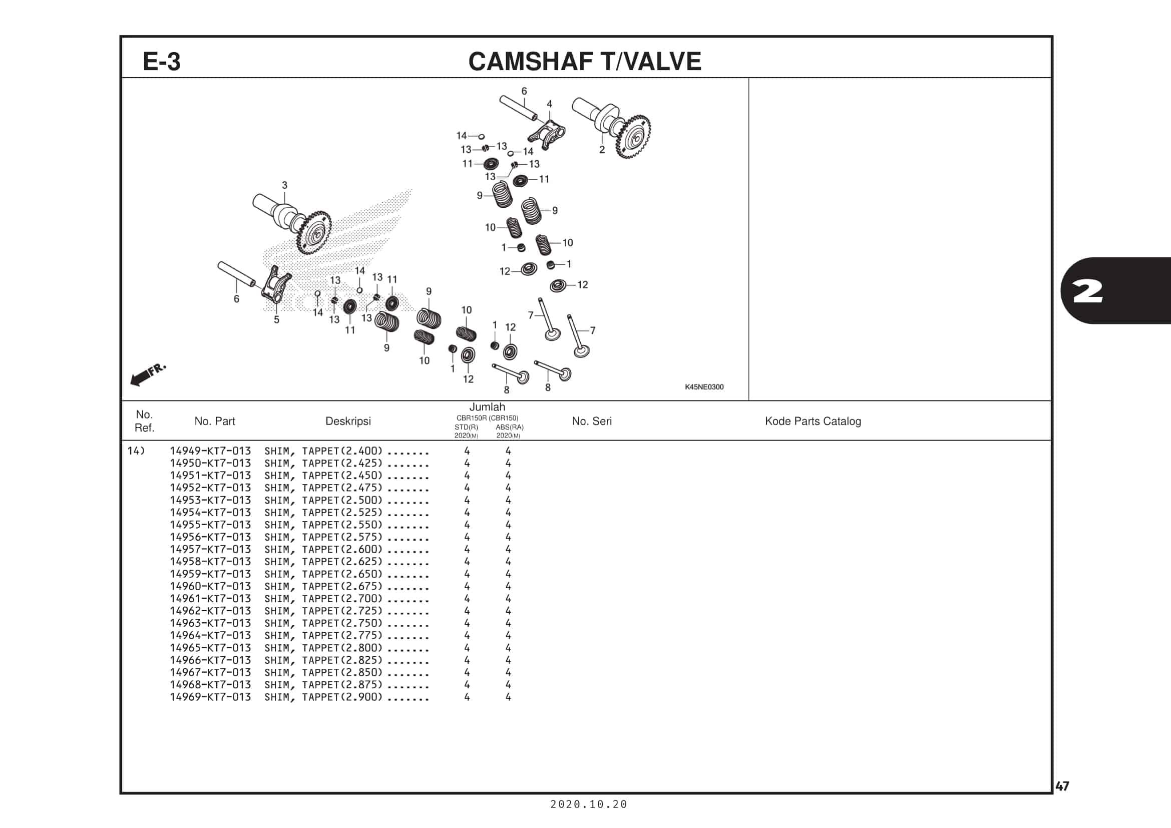 E-3 Camshaft T Valve