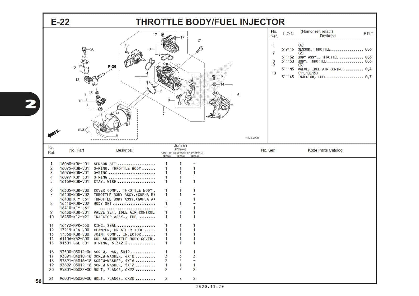 E-22 Throttle Body/ Fuel Injector