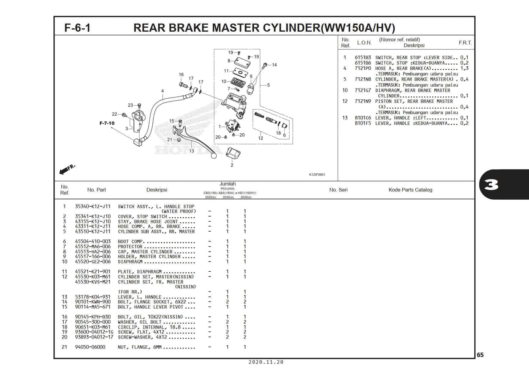 F-6-1 Rear Brake Master Cylinder (WW150A/HV)