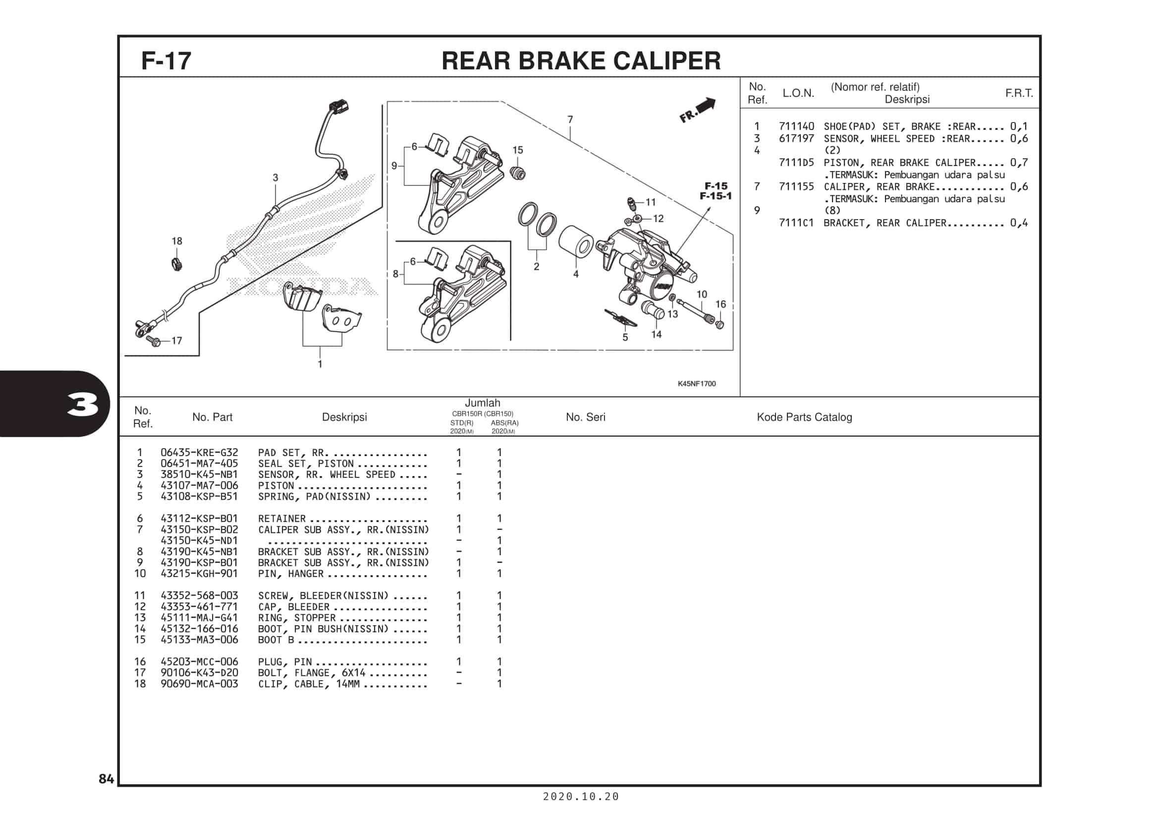 F-17 Rear Brake Caliper