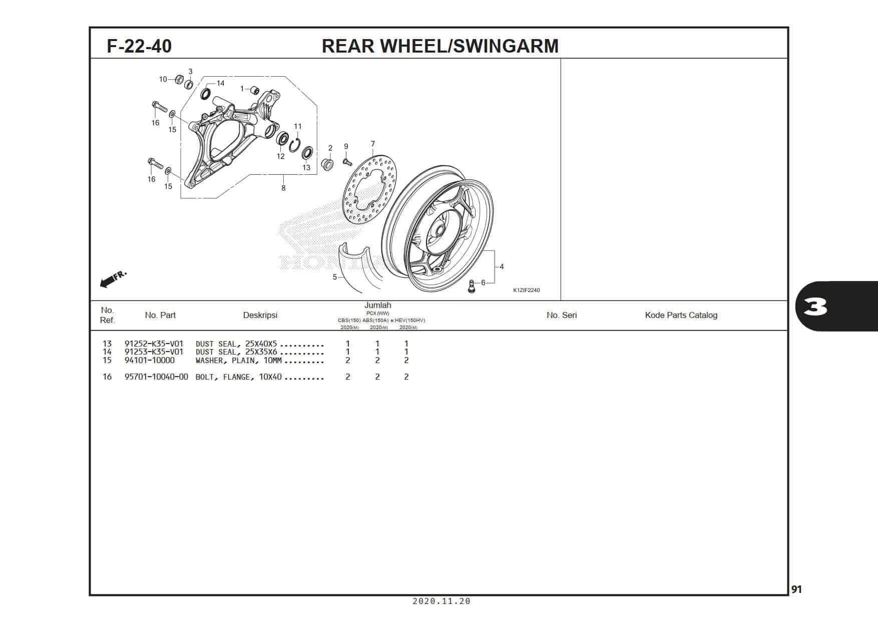 F-22-40 Rear Wheel/Swingarm
