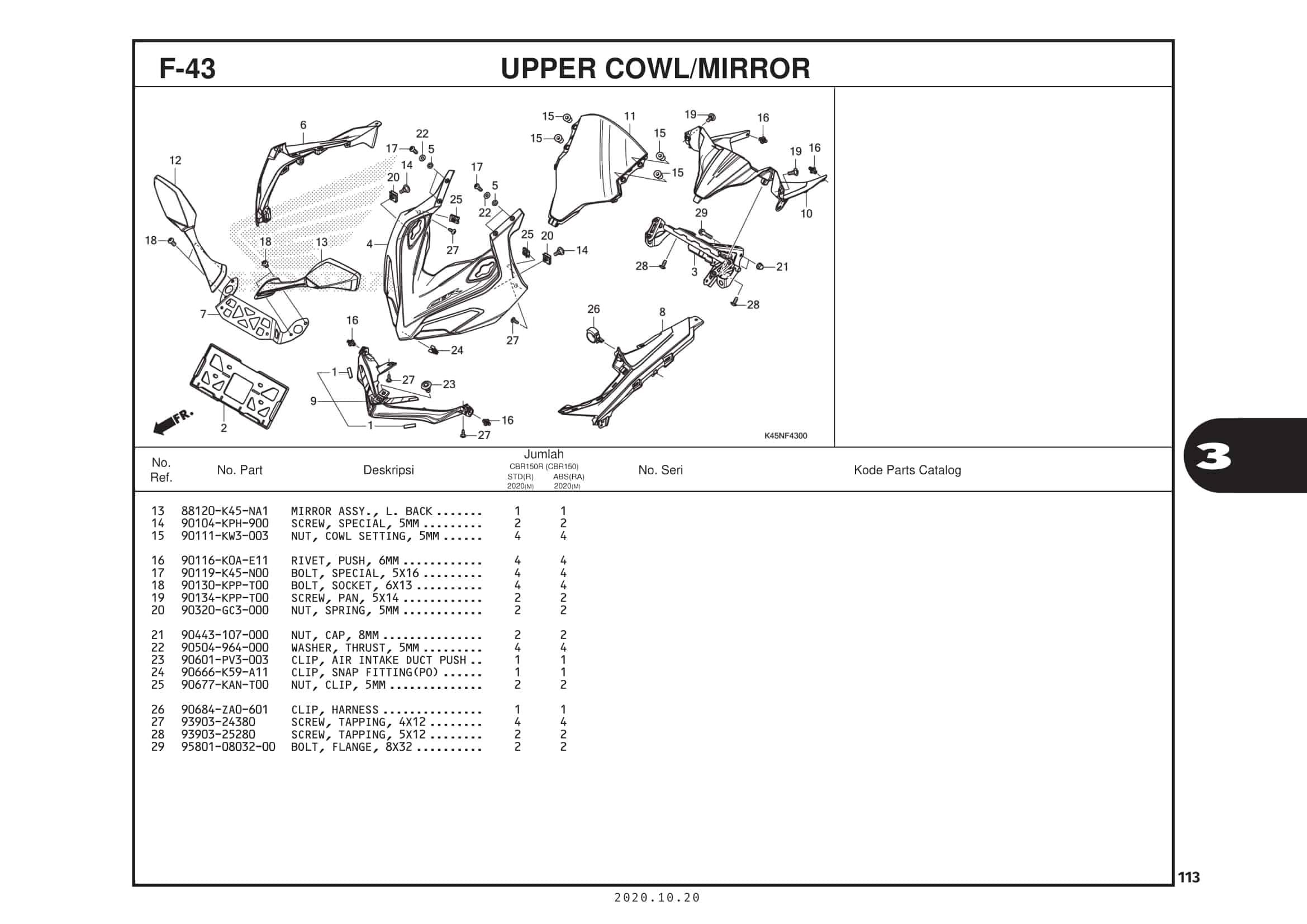 F-43 Upper Cowl/Mirorr