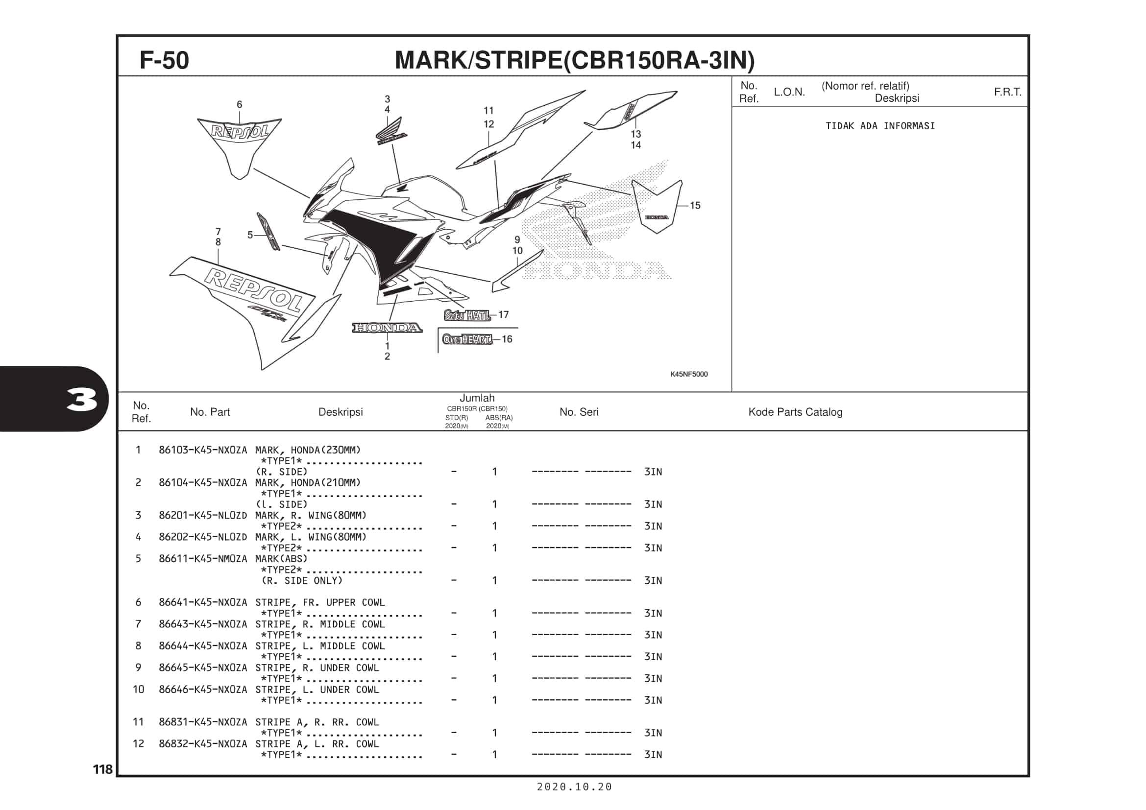 F-50 Mark/Stripe (CBR150RA-3IN)
