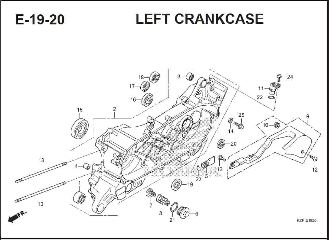 E-19-20 Left CrankCase – Katalog Honda Vario Techo 125-2