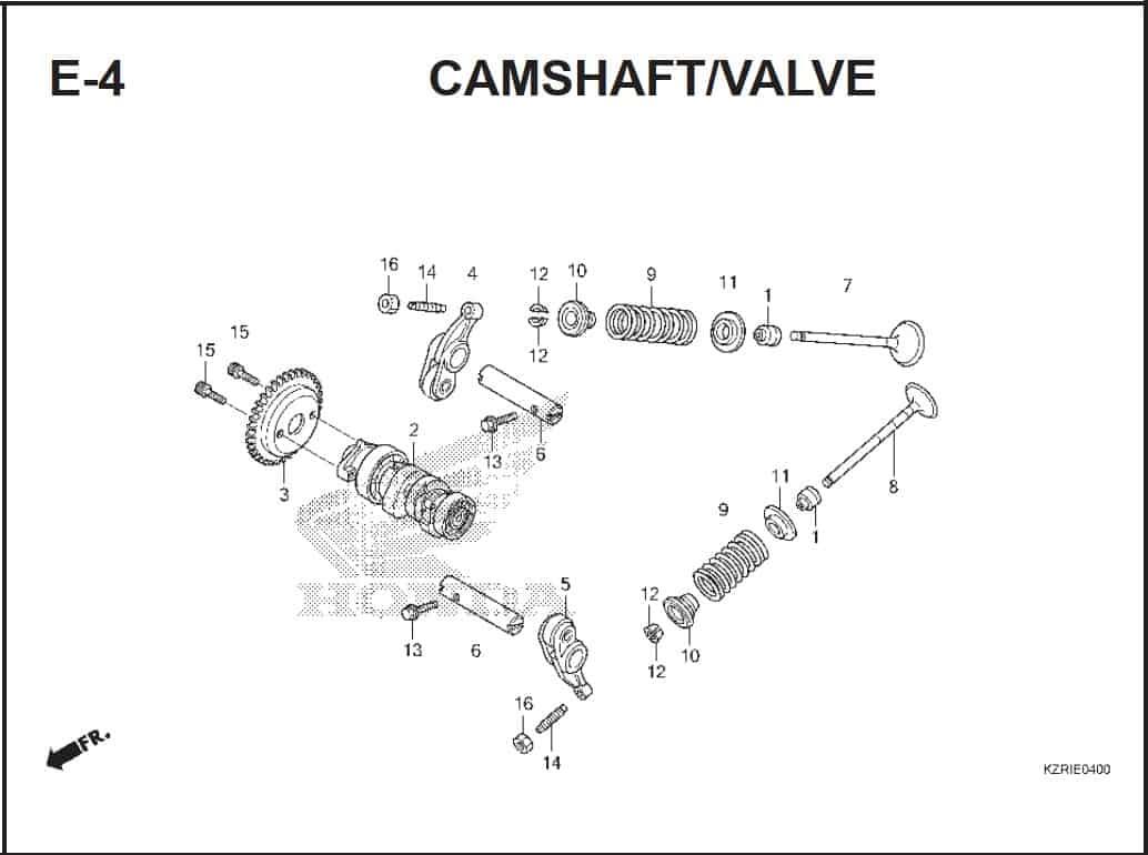 E-4 Camshaft/Valve – Katalog Honda Vario Techno 125 -2