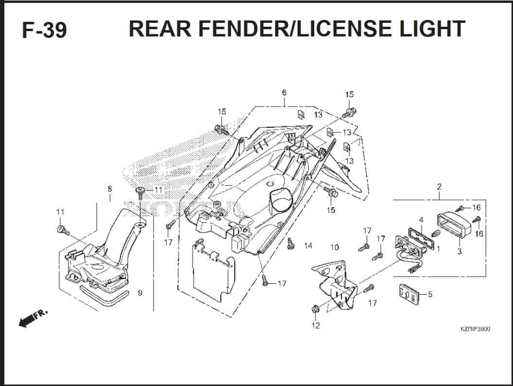 F-39 Rear Fender License Light