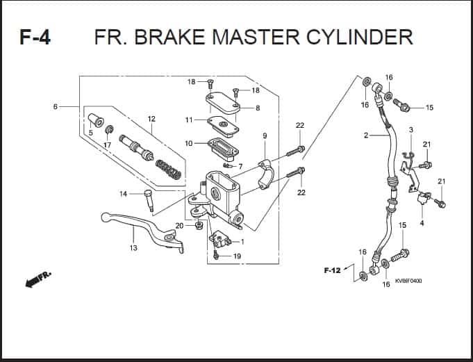 F-4 FR Brake Master Cylinder