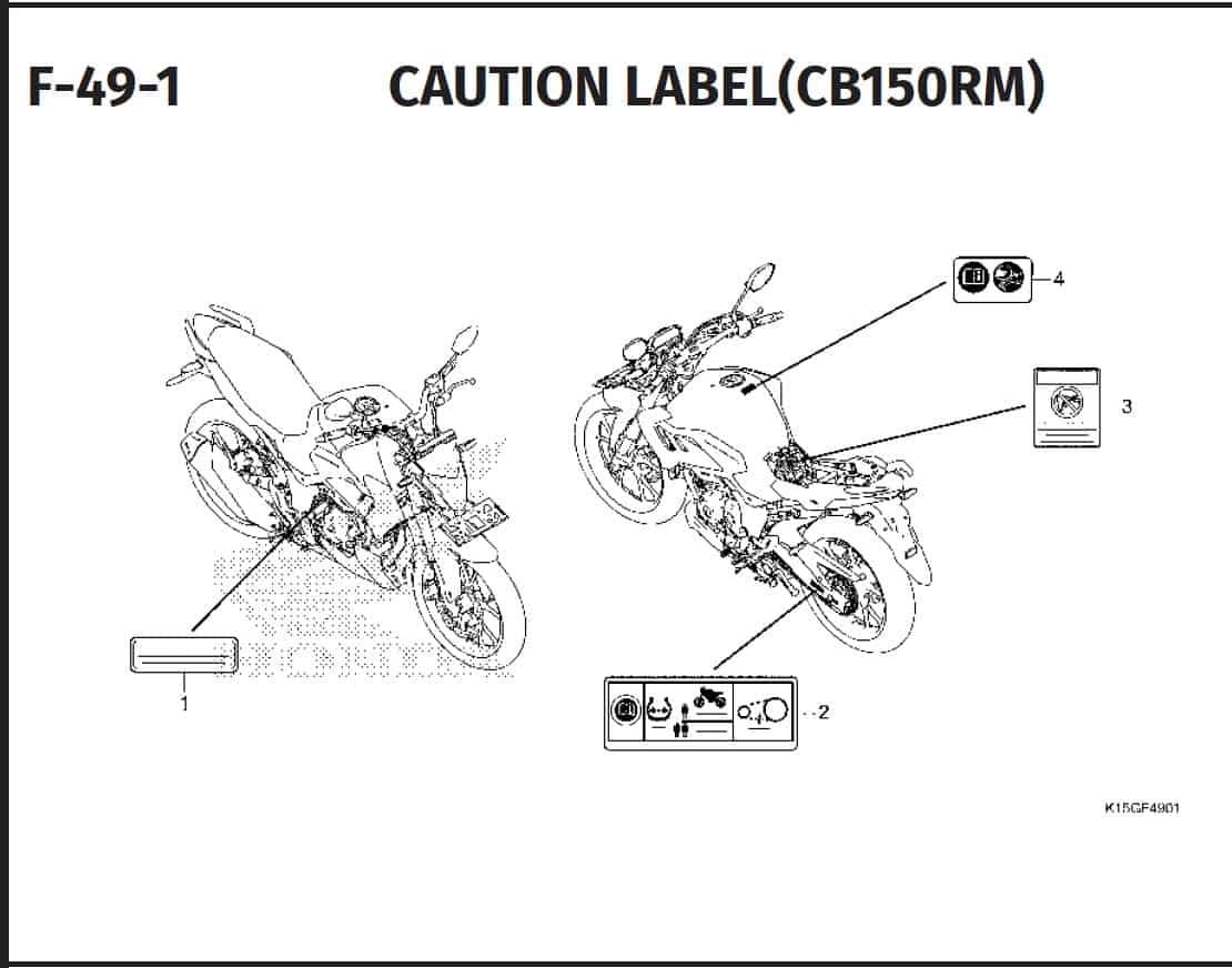 F-49-1 Caution Label (CB150RM)