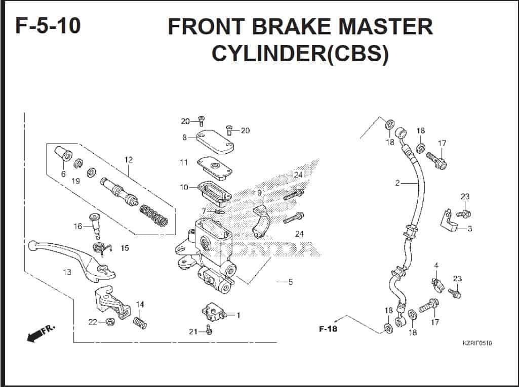 F-5-10 Front Brake Master Cylinder (CBS)