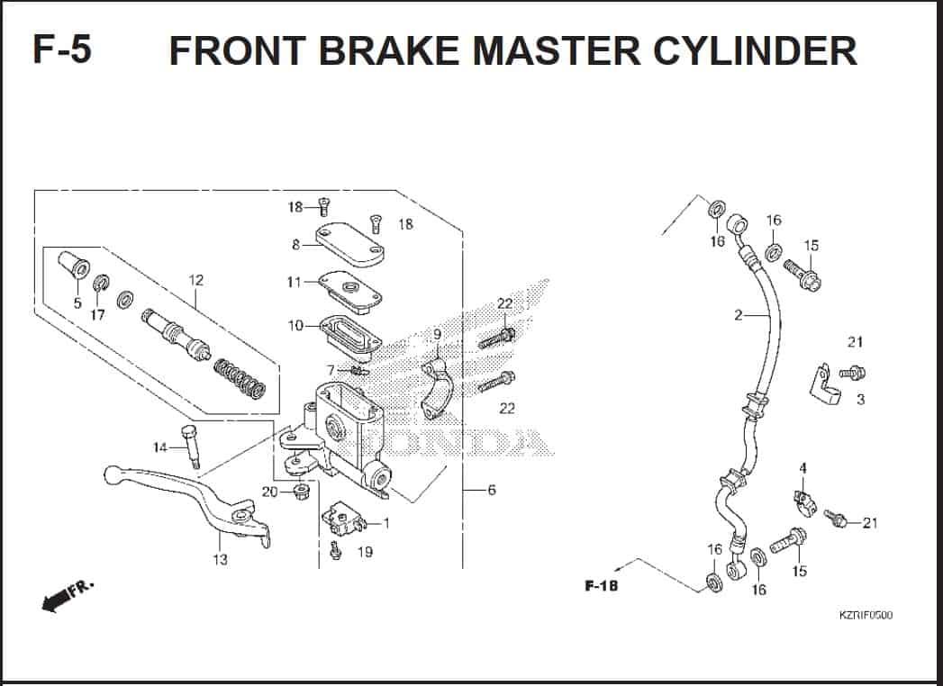 F-5 Front Brake Master Cylinder – Katalog Honda Vario Techno 125 -2