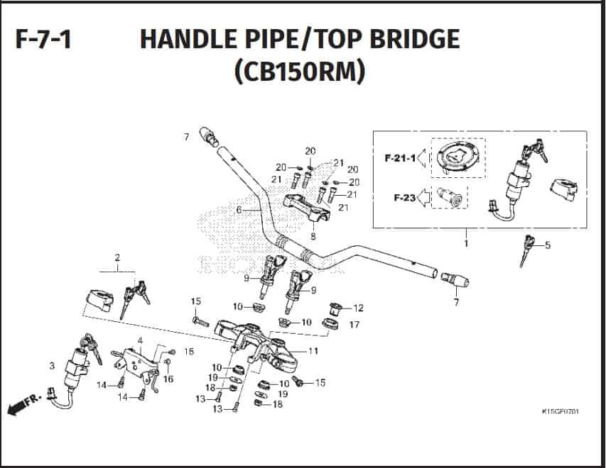 F-7-1 Handle Pipe Top Bridge (CBR150RM)