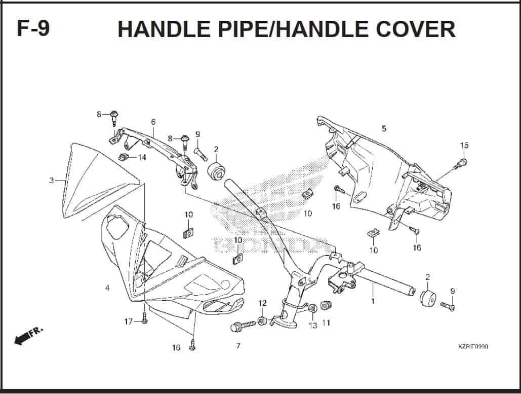 F-9 Handle Pipe/ Handle Cover – Katalog Honda Vario Techno 125 -2