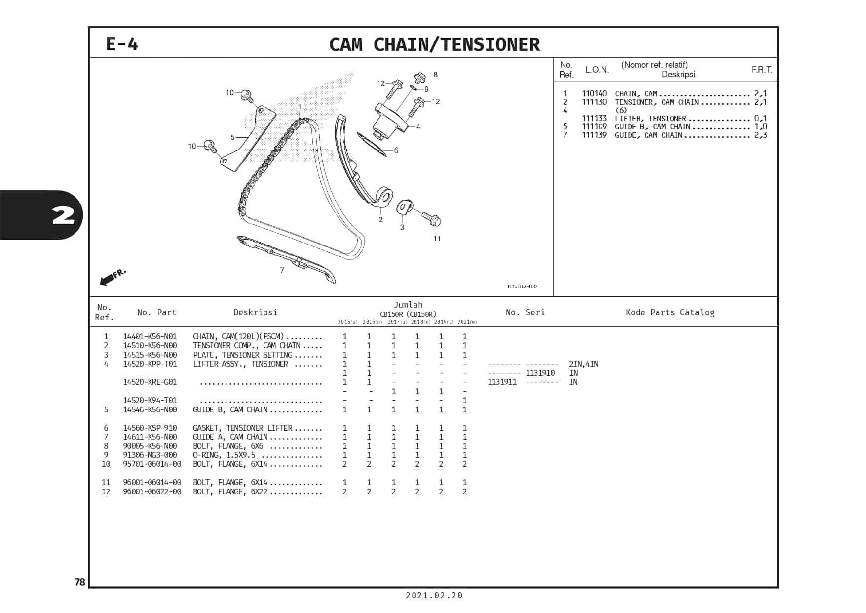 E-4 Cam Chai/ Tensioner