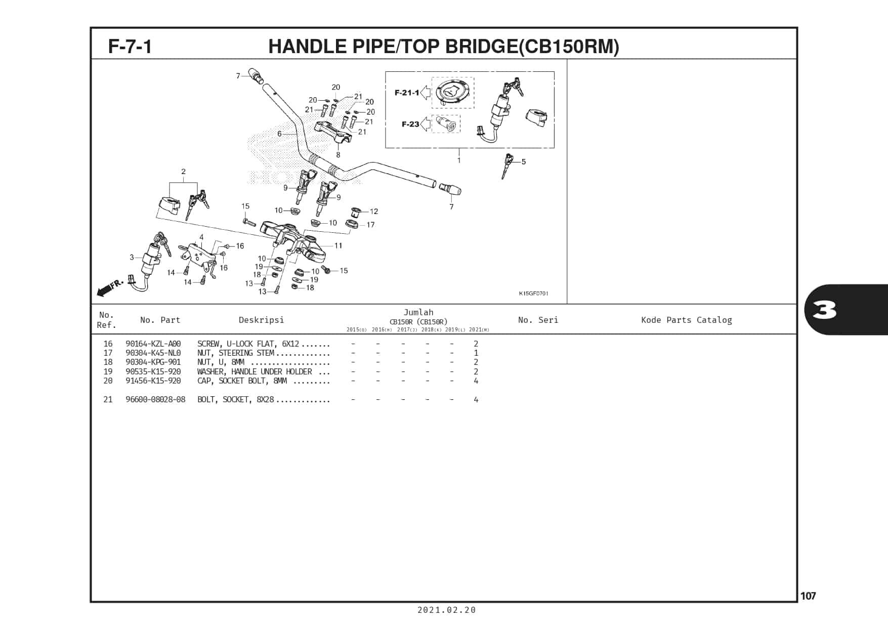 F-7-1 Handle Pipe/Top Bridge (CB150RM)