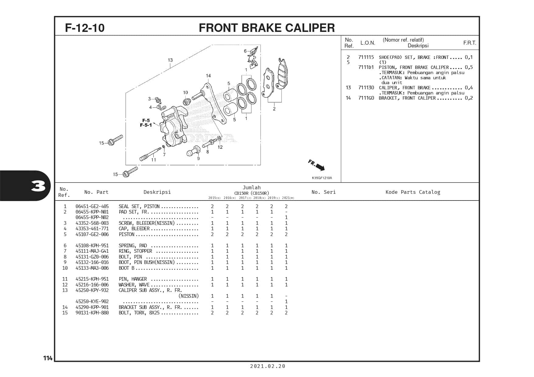 F-12-10 Front Brake Caliper