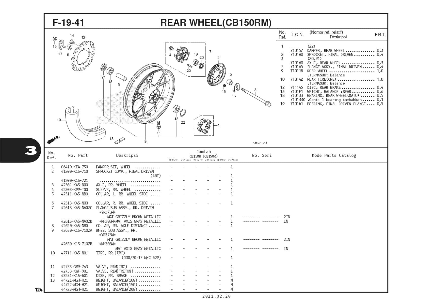 F-19-41 Rear Wheel (CB150RM)