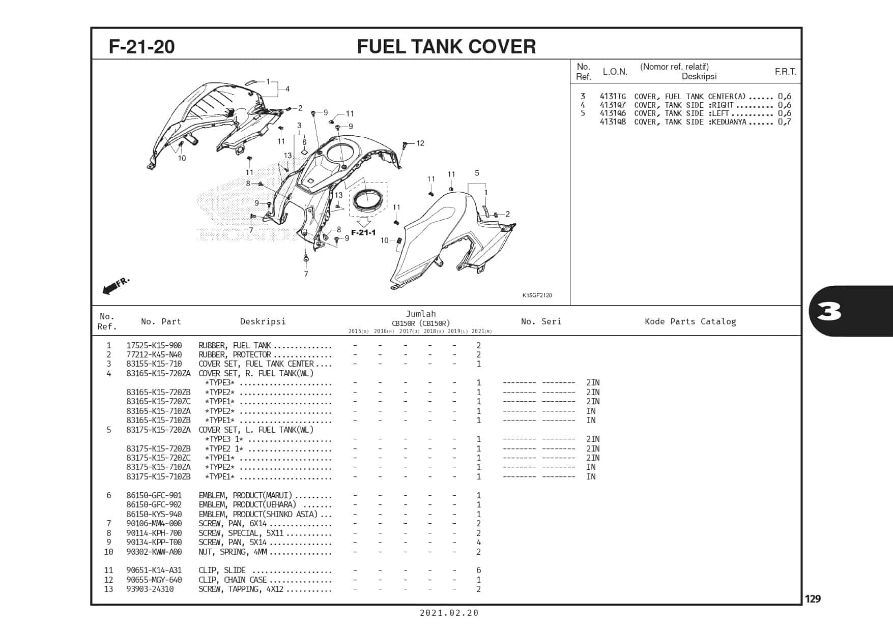 F-21-20 Fuel Tank Cover