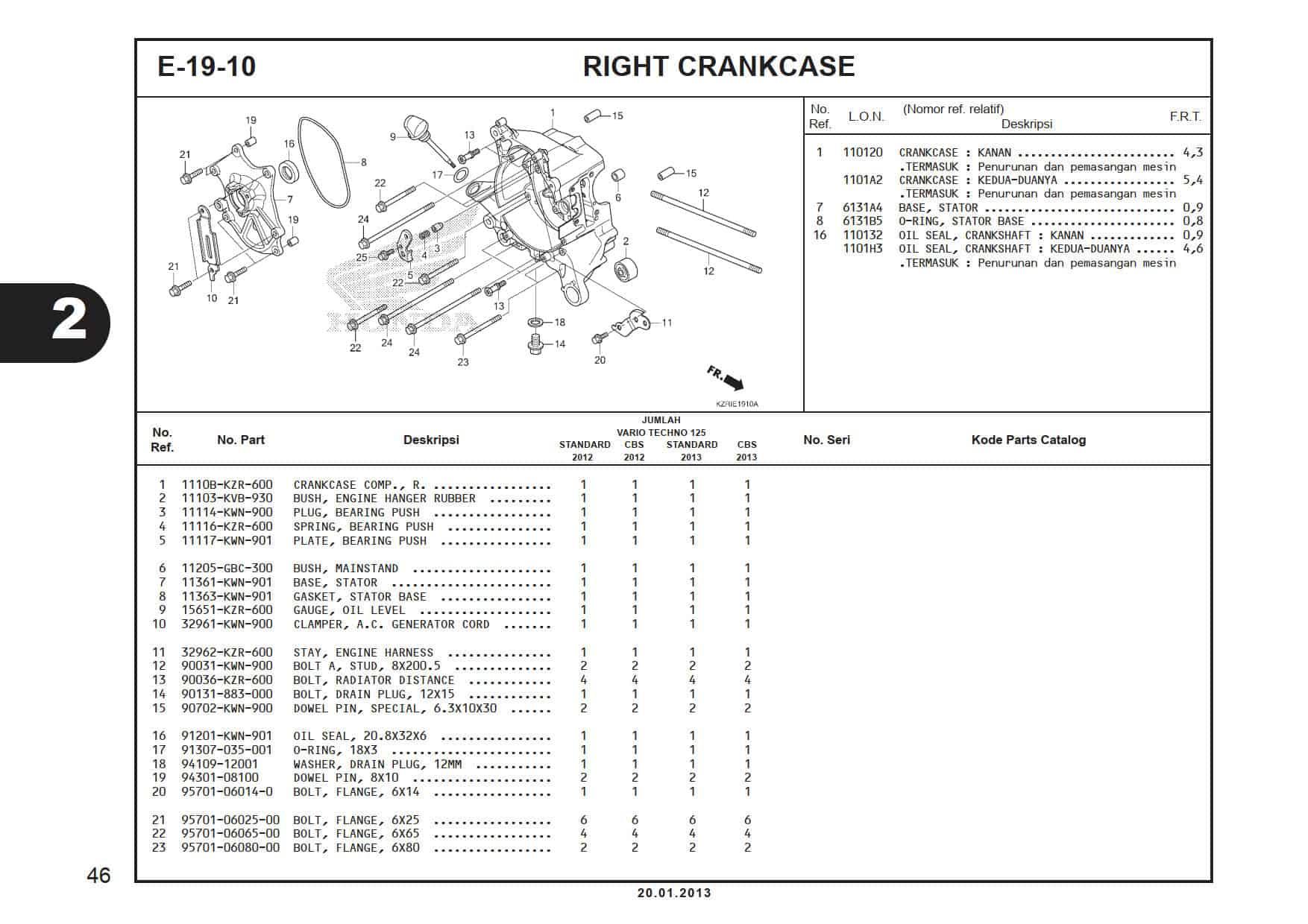 E-19-10 Right Crank Case Cover -