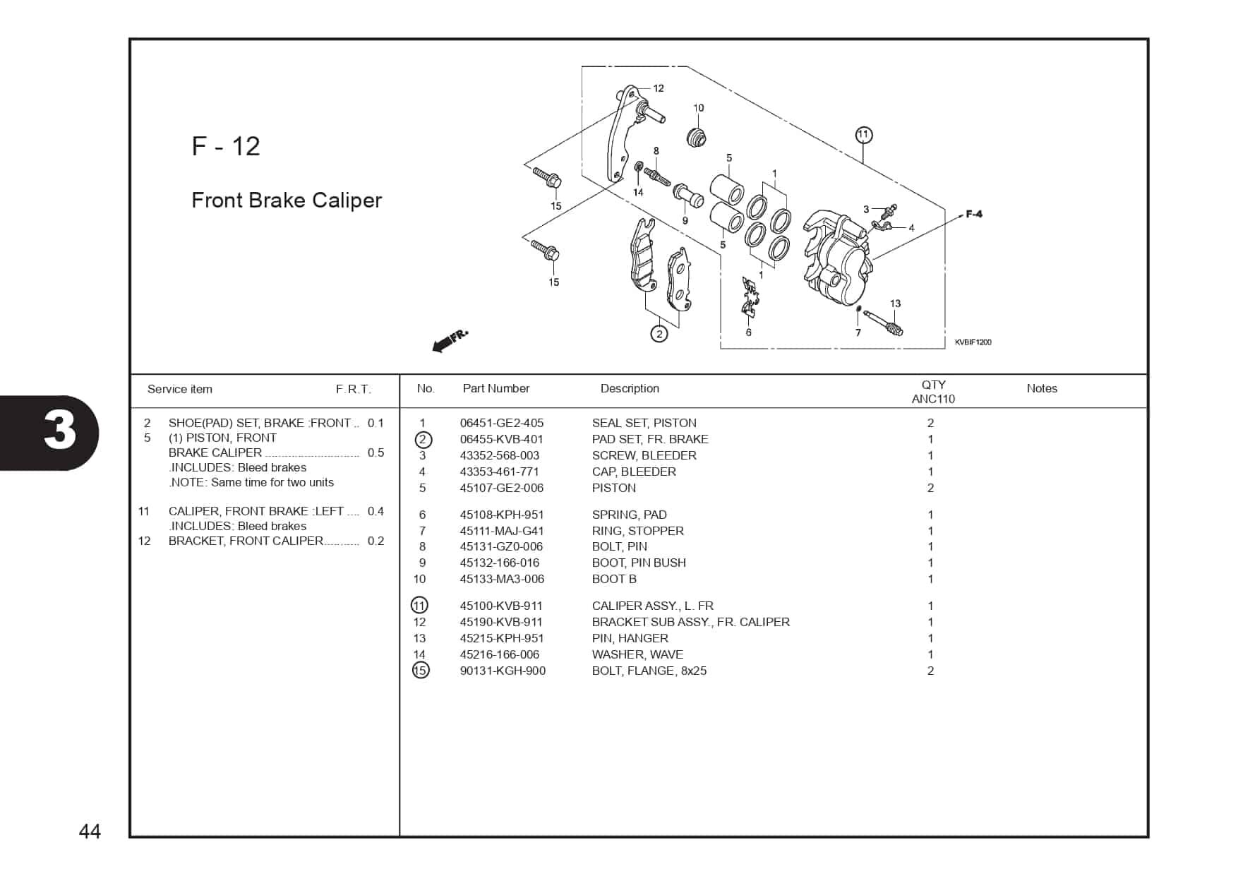 F-12 Front Brake Caliper