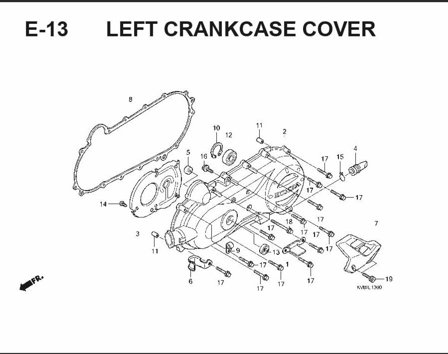E-13 Left CrankCase Cover – Katalog Suku Cadang Honda Vario Techno