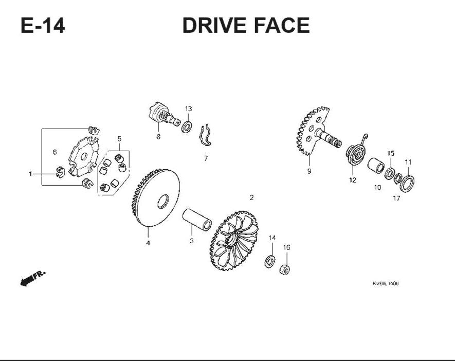 E-14 Drive Face – Katalog Suku Cadang Honda Vario Techno