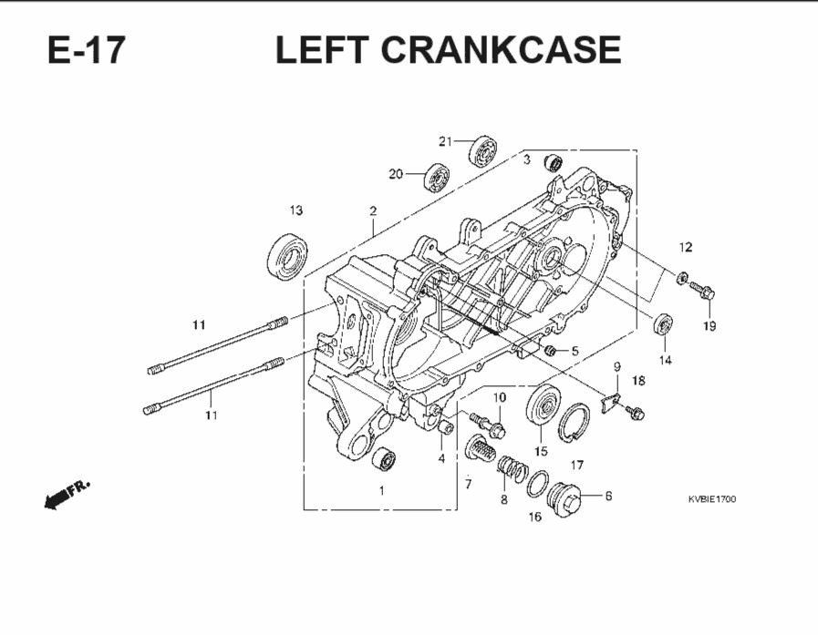 E-17 Left CrankCase – Katalog Suku Cadang Honda Vario Techno