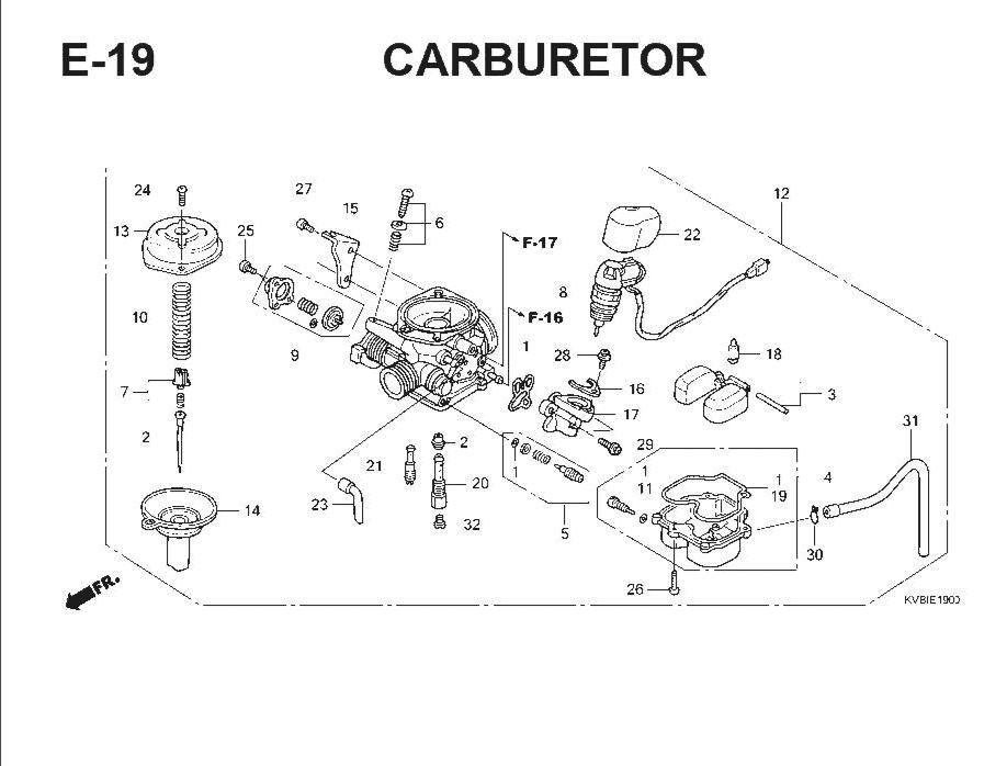 E-19 Carburator – Katalog Suku Cadang Honda Vario Techno