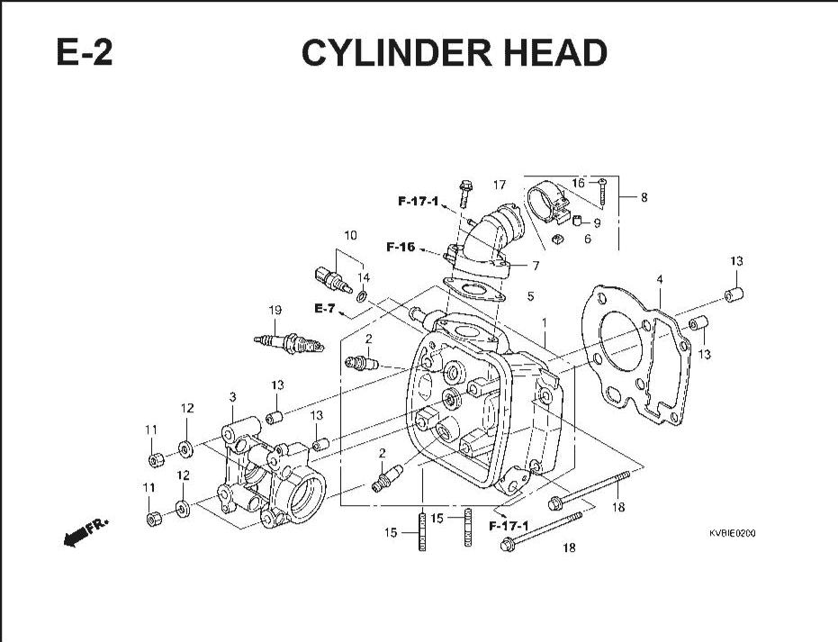 E-2 Cylinder Head – Katalog Suku Cadang Honda Vario Techno