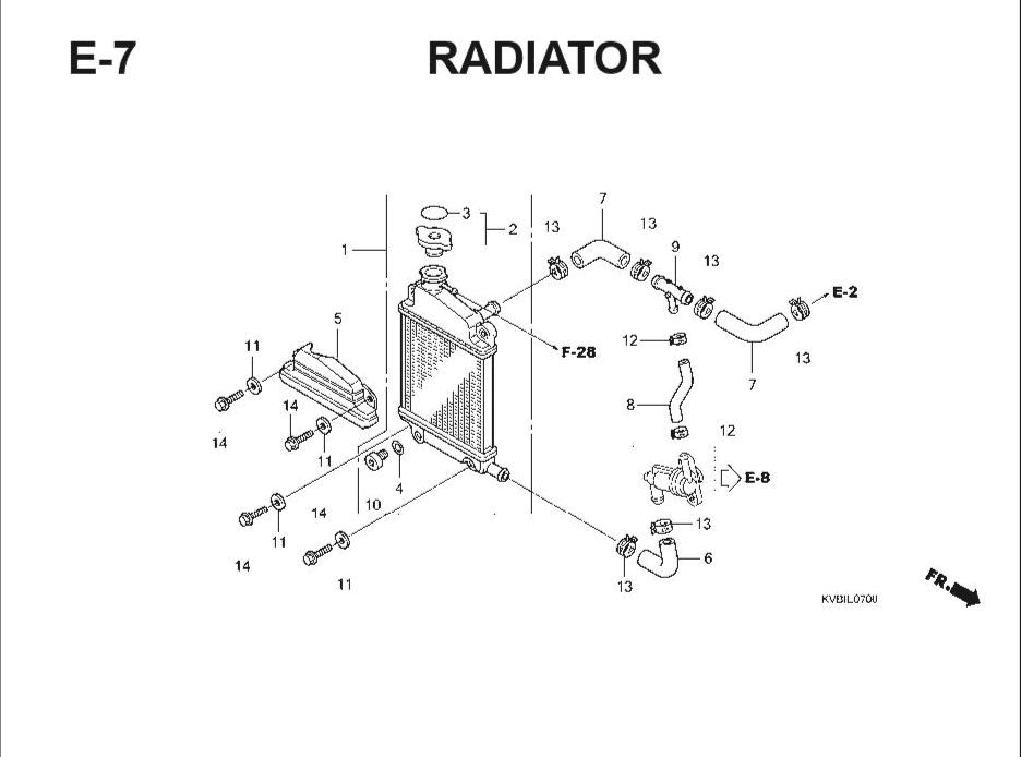 E-7 Radiator – Katalog Suku Cadang Honda Vario Techno