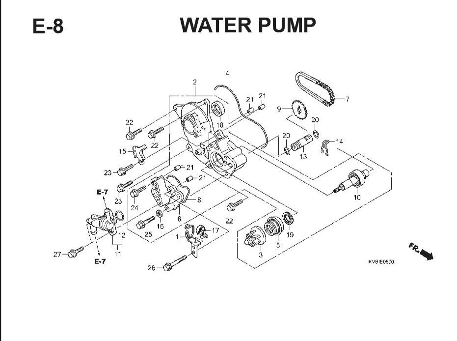 E-8 Water Pump – Katalog Suku Cadang Honda Vario Techno