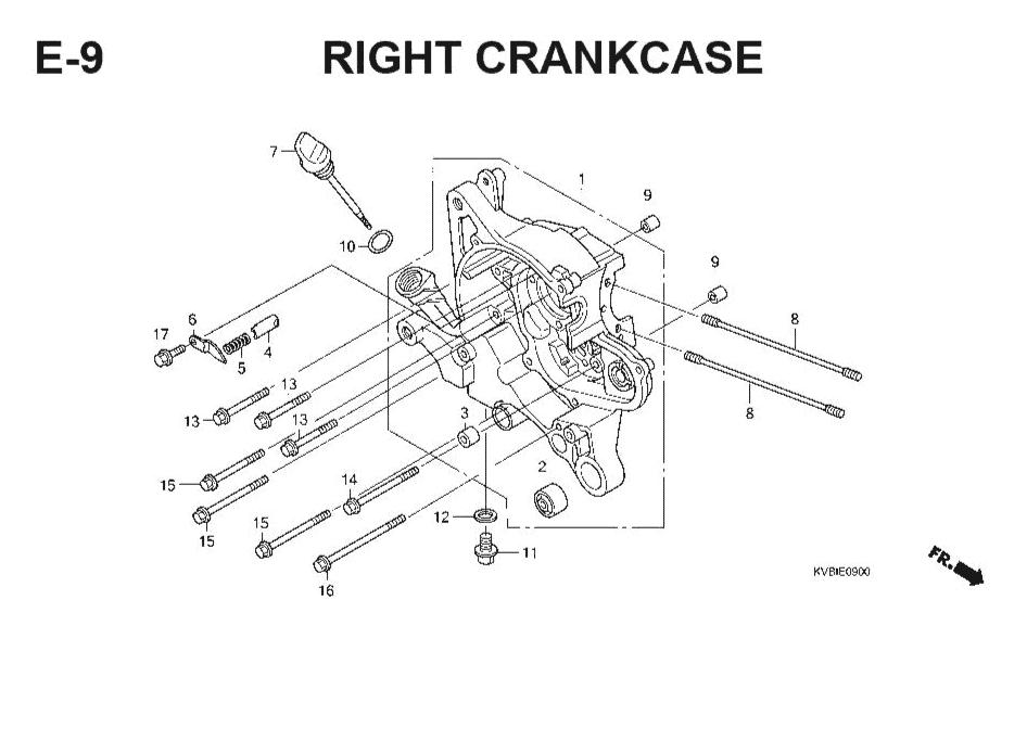 E-9 Right CrankCase – Katalog Suku Cadang Honda Vario Techno