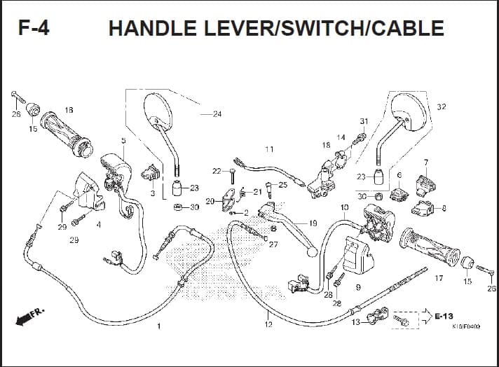 F-4 Handle Lever Switch Cable