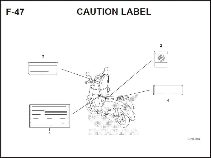 F-47 Caution Label – Katalog Suku Cadang Honda Scoopy FI – 2