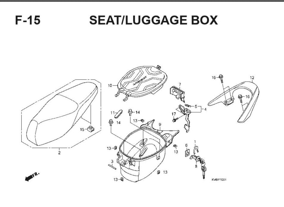 F-15 Seat/Luggage Box – Katalog Suku Cadang Honda Vario Techno