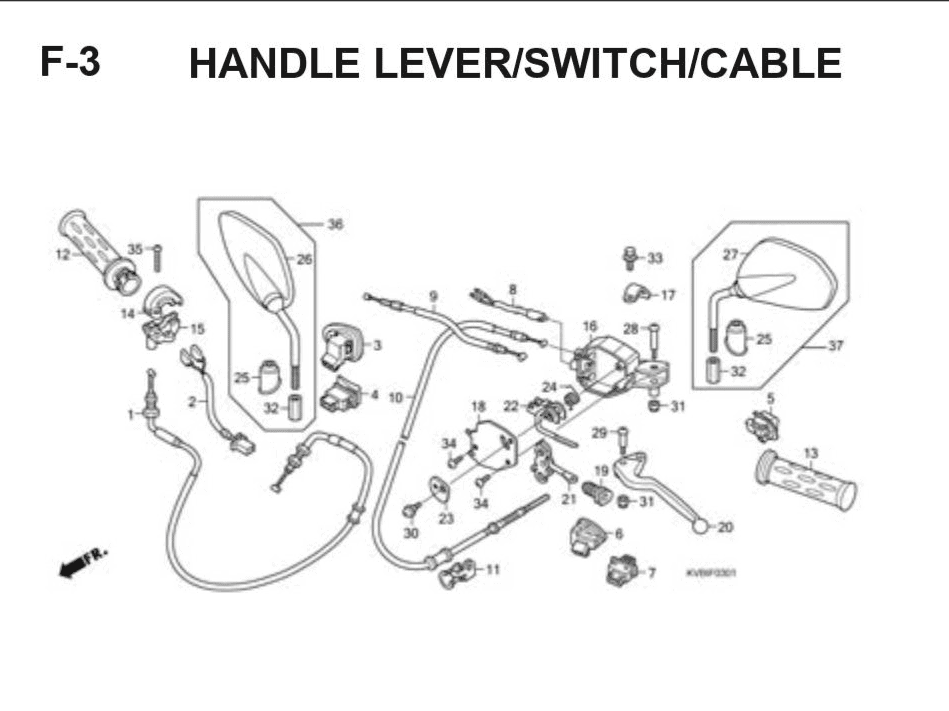 F-3 Handle Lever – Katalog Suku Cadang Honda Vario Techno
