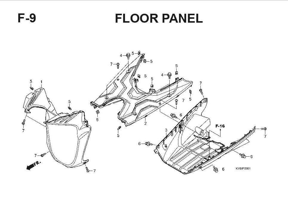 F-9 Floor Panel – Katalog Suku Cadang Honda Vario Techno