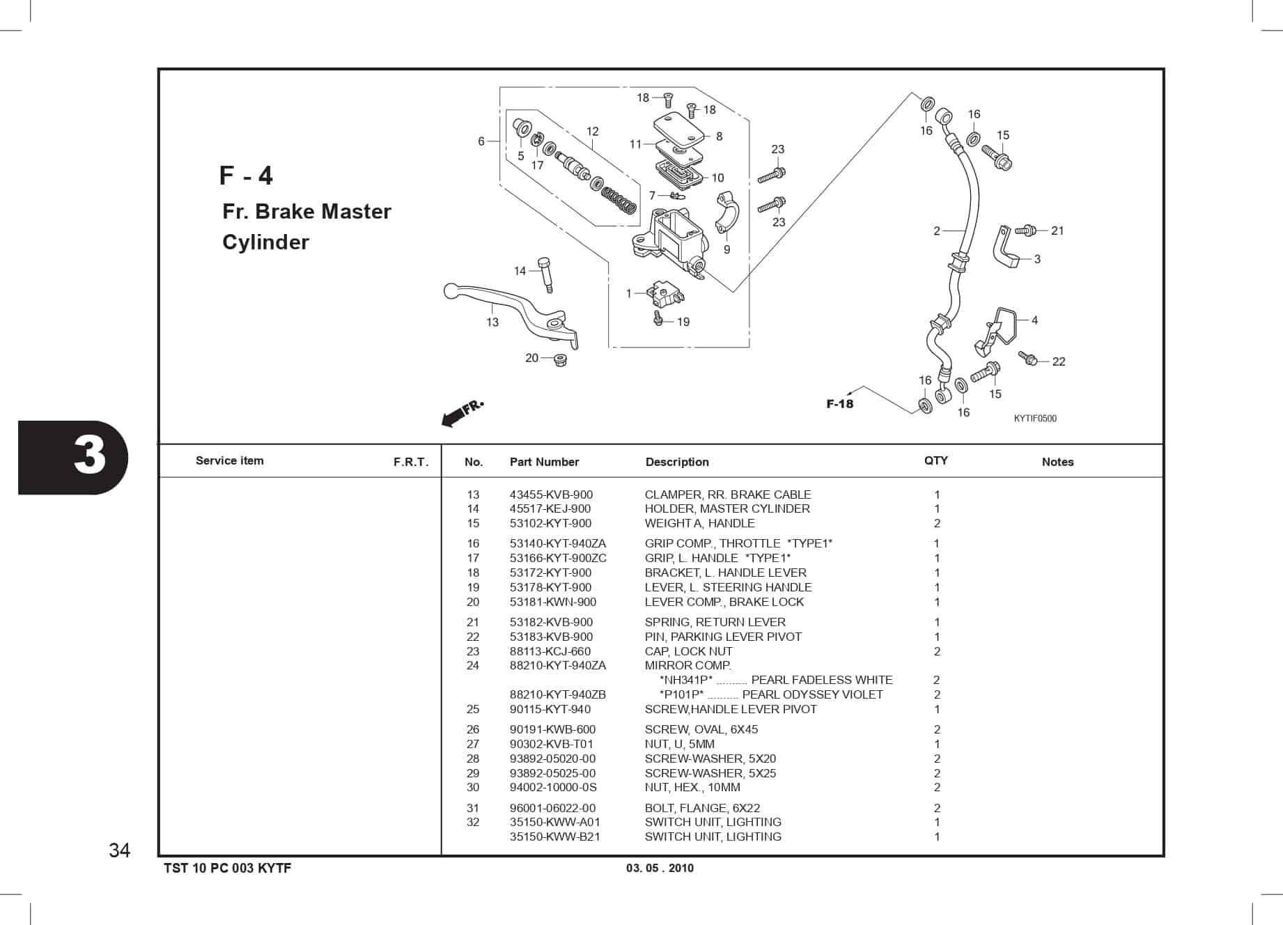 F-4 FR. Brake Master Cylinder