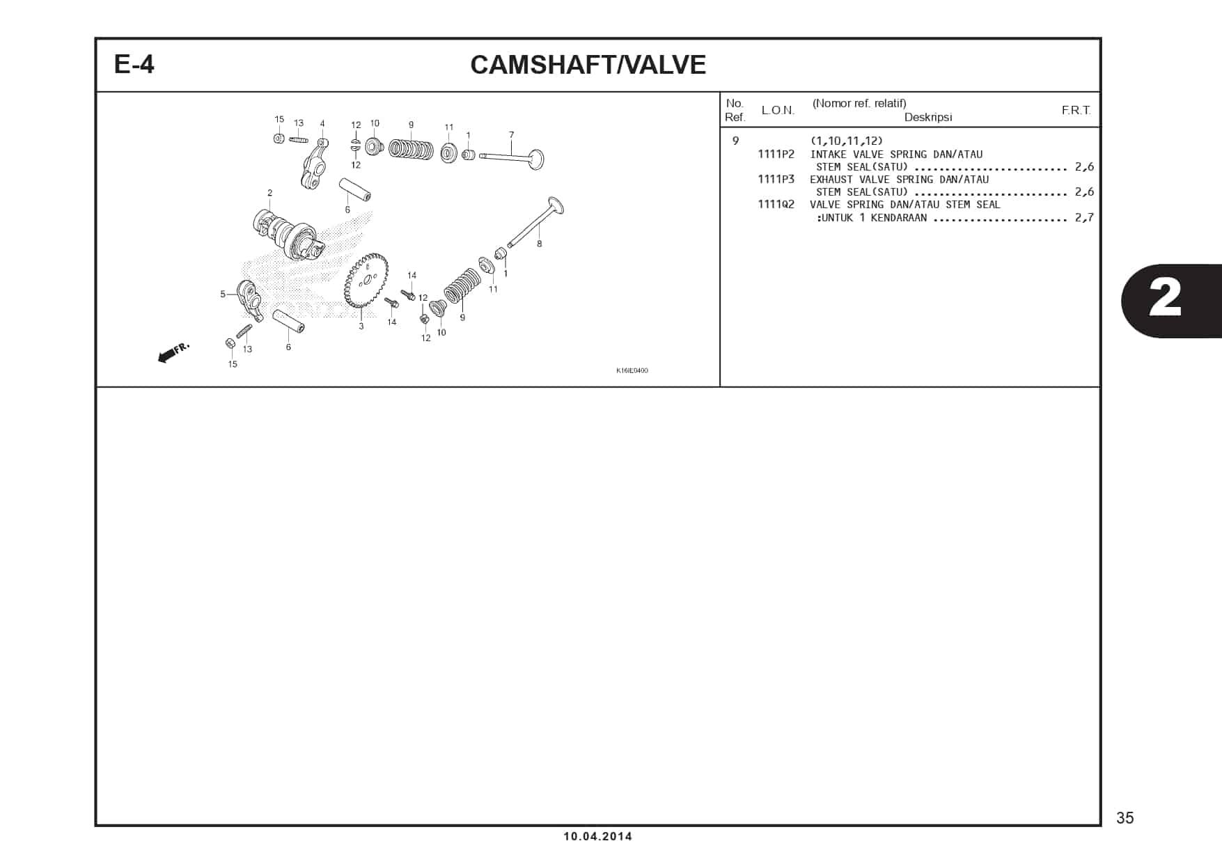 E-4 CamShaft/ Valve