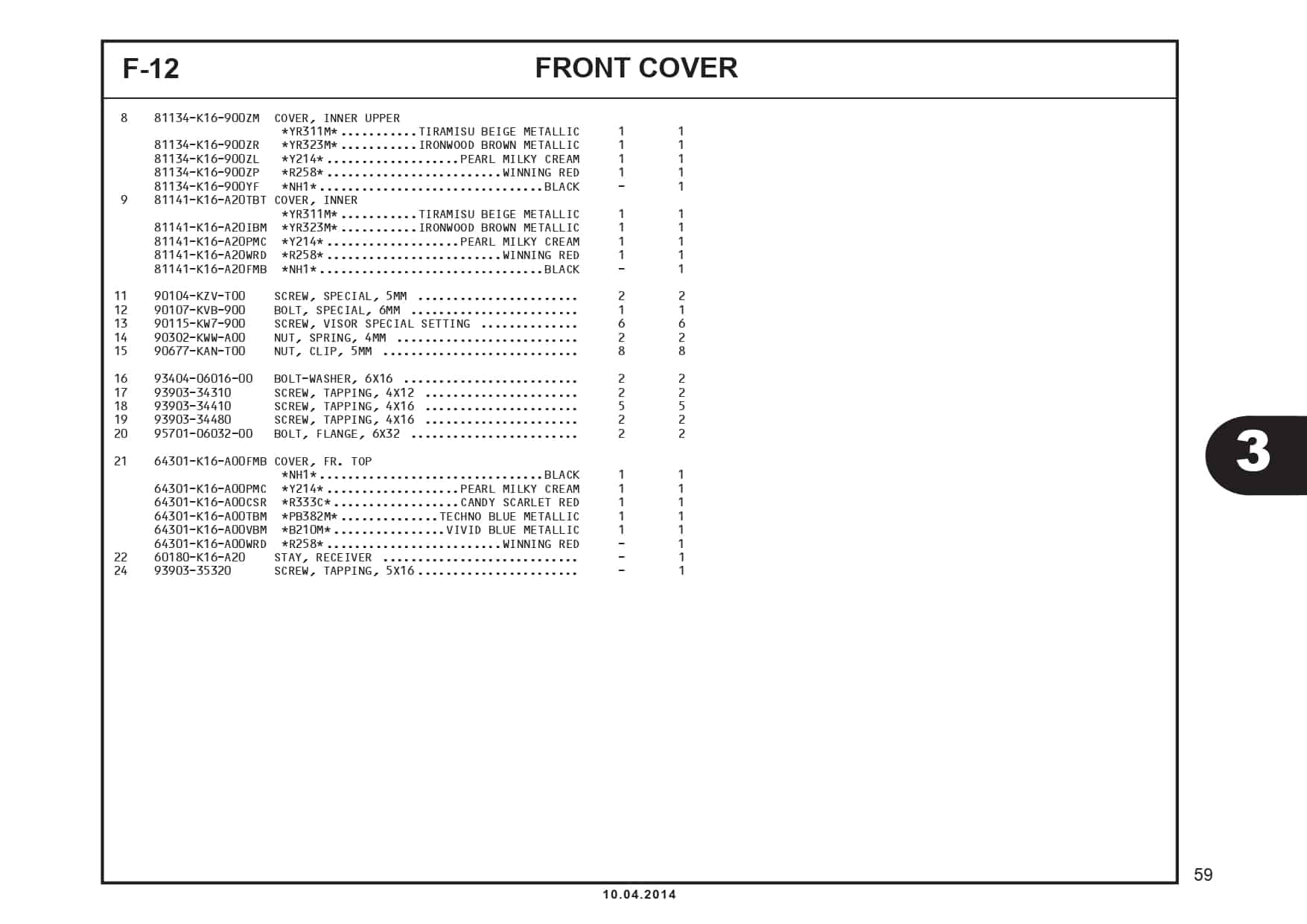 F-12 Front Cover