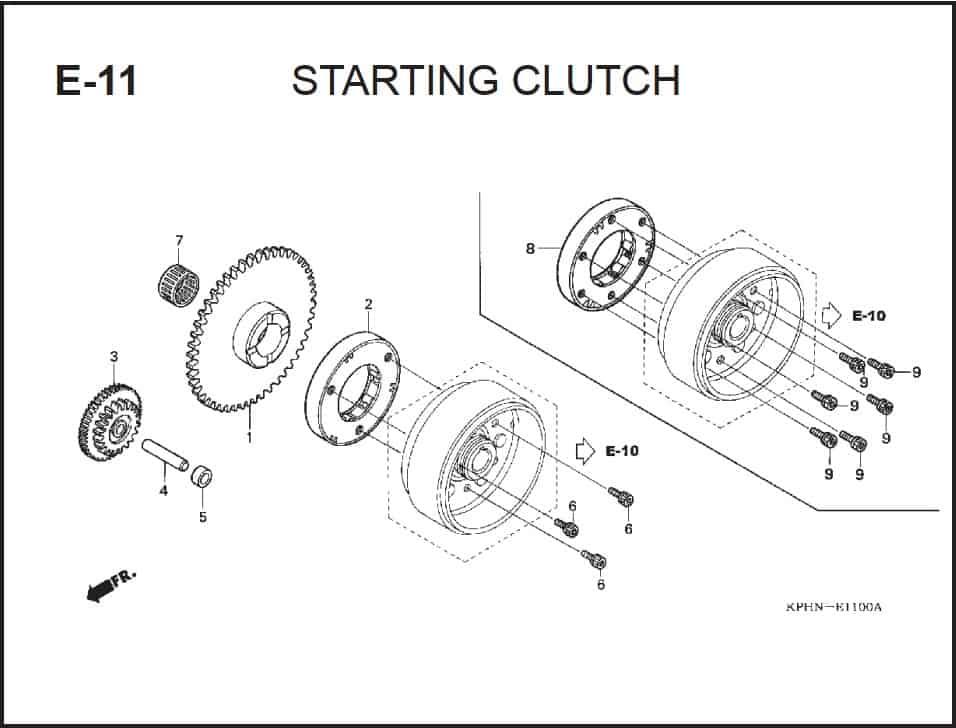 E-11 Starting Clutch – Katalog Suku Cadang Honda Supra X 125 PGM-FI