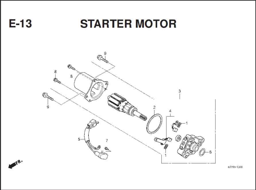 E-13 Starter Motor – Katalog Suku Cadang Honda Blade 110