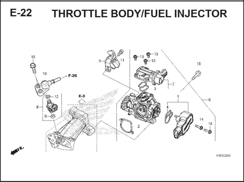 E-22 Throttle Body/ Fuel Injector – Katalog Honda PCX 150